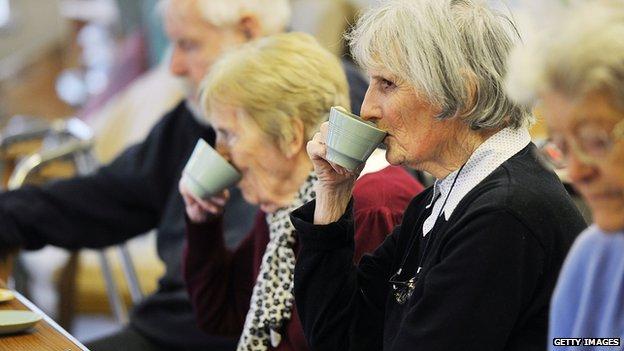 older women drinking tea