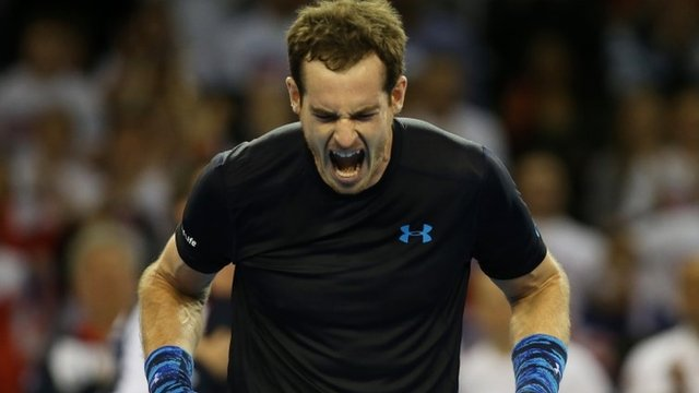 Great Britain's Andy Murray reacts to his opening Davis Cup win