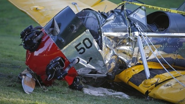 The plane in which Harrison Ford made an emergency landing in at Penmar Golf Course in Venice, California - 5 March 2015