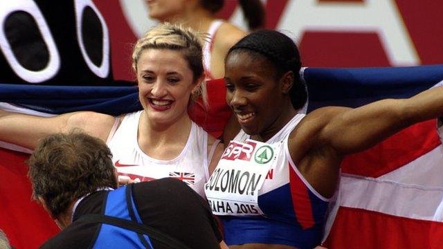 GB's Lucy Hatton wins silver & Serita Solomon bronze in 60m hurdles