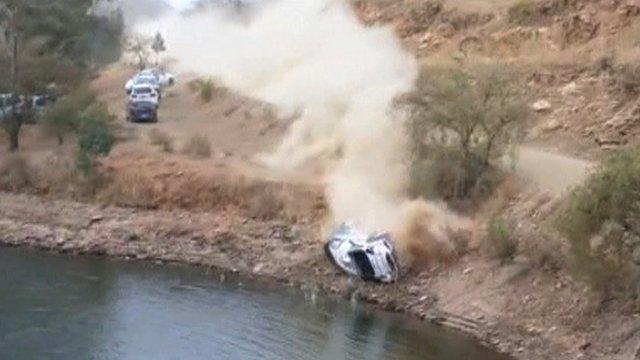 A rally car crashes into a lake in Mexico