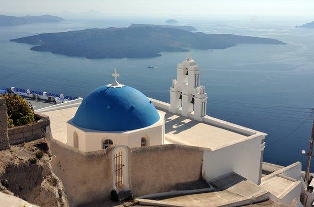 A church in Fira, Santorini, an archipelago of islands in the Cyclades, Greece