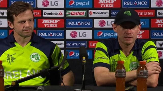 Ireland batsman Ed Joyce (left) and skipper William Porterfield