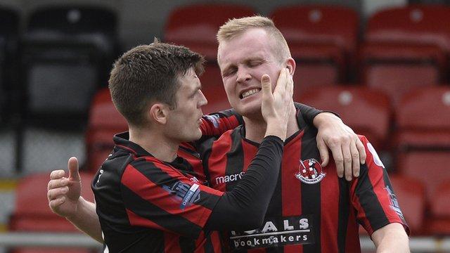 Crusaders goal scorers Diarmuid O'Carroll and Jordan Owens