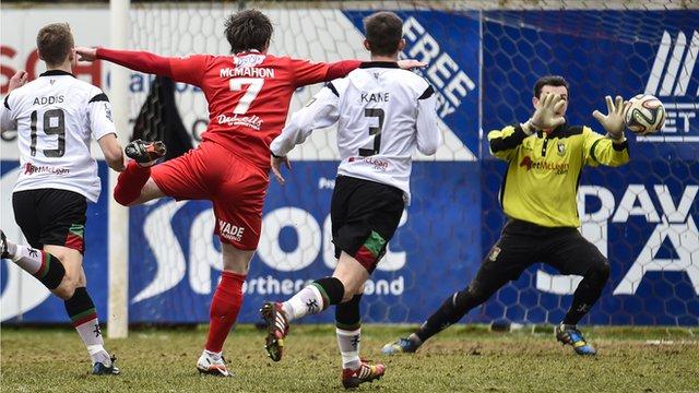 Match action from Portadown against Glentoran at Shamrock Park