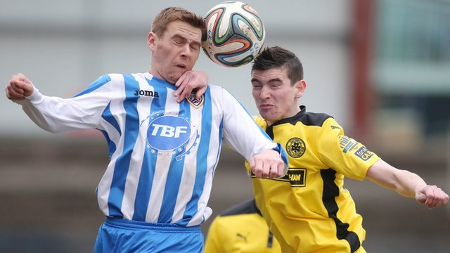 Match action from Coleraine against Cliftonville