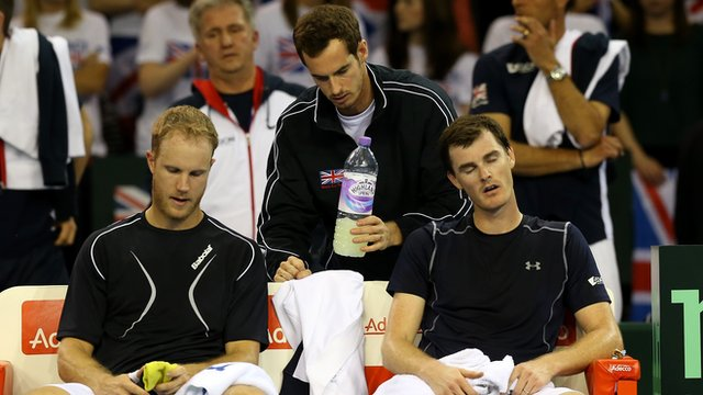 Andy Murray supports the British pair of Jamie Murray and Dominic Inglot