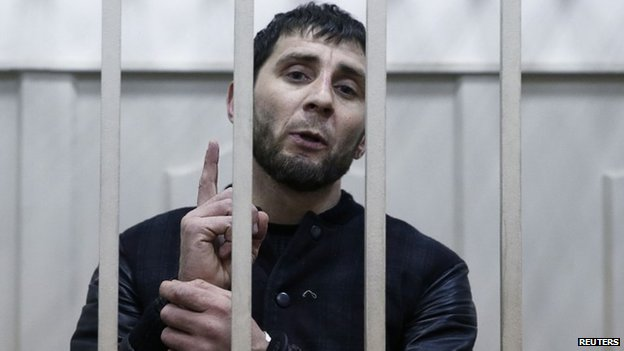 Zaur Dadayev, charged with involvement in the murder of Boris Nemtsov, inside a defendants' cage in Moscow, Russia, 8 March 2015