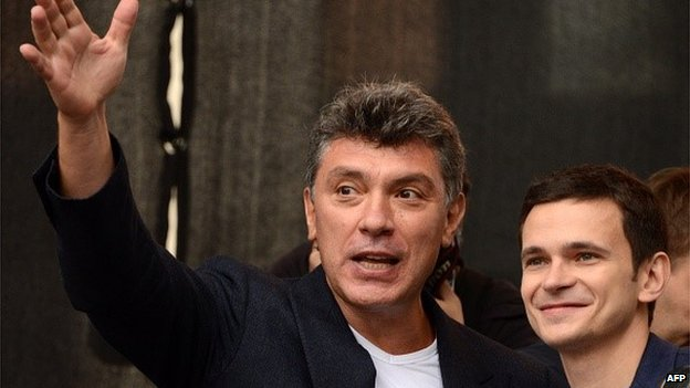Boris Nemtsov and Ilya Yashin at an anti-Putin rally on 15 September 2015