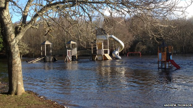 Flooded Whin Park in Inverness