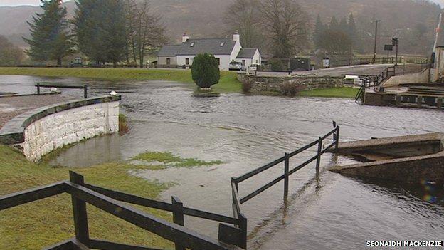 Flooding at Aberchalder near Fort Augustus