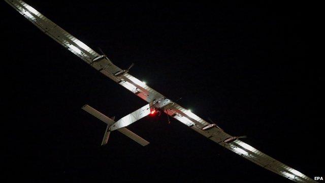 Solar Impulse 2 at night