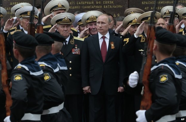 Vladimir Putin at a Victory Day parade in Sevastopol, Crimea, 9 May 2014