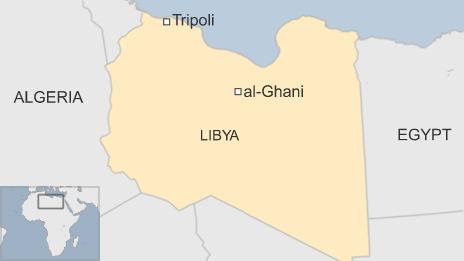 Map showing location of al-Ghani oil field in Libya