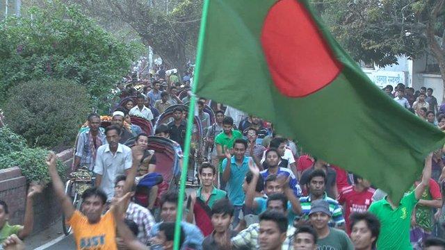 Celebrating Bangladesh fans
