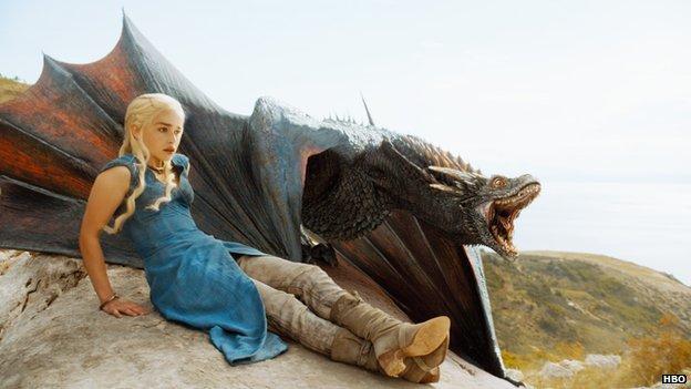 Daenerys Targaryen and a dragon
