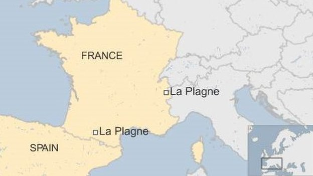 map of France and Spain showing two towns called La Plagne