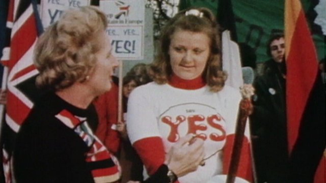 Margaret Thatcher in 1975 referendum image