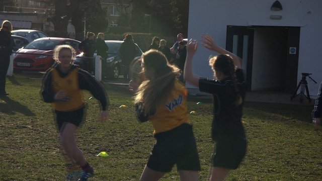 Girls playing rugby union