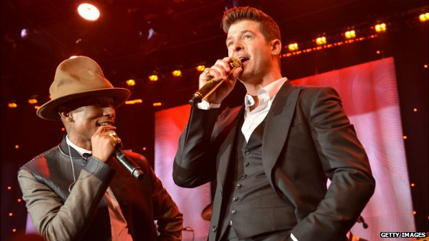 Pharrell Williams and Robin Thicke perform at the Grammy Awards - 25 January 2015
