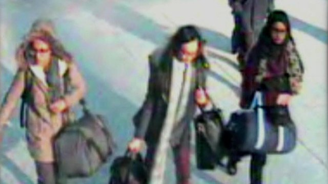 A CCTV image of the girls travelling to Syria