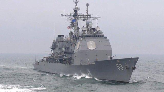 Nato warship at sea