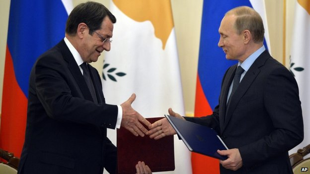 Cyprus President Nicos Anastasiades signed a military cooperation deal with Mr Putin on 25 Feb