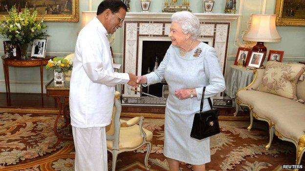 The Sri Lankan president meets Queen Elizabeth