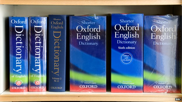 A display of Oxford dictionaries on sale at the Oxford University Press shop