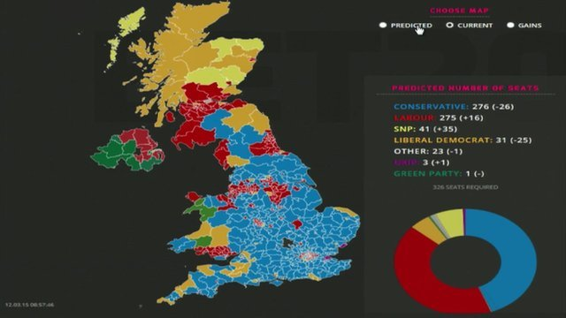 Bbc Constituency Map Election 2015: UK political map based on seats and bets   BBC News