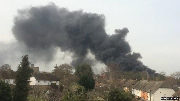 Scene of the fire in Webridge, Surrey