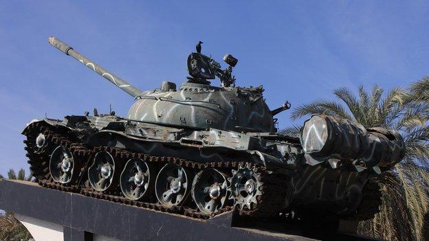 An old tank on display in Eritrea