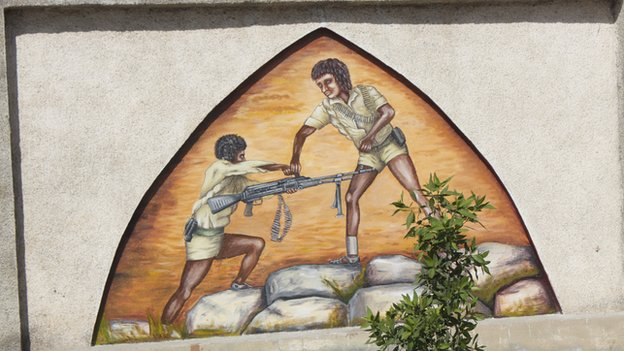 A mural showing soldiers fighting in Eritrea