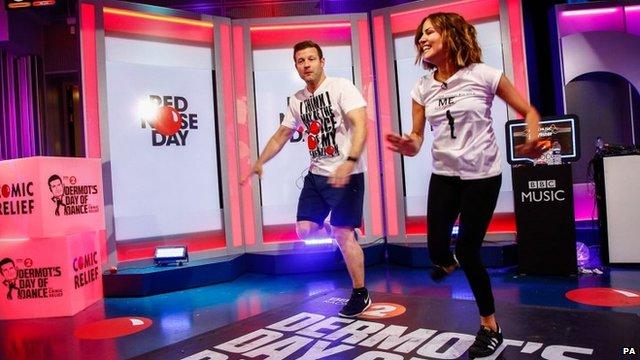 Dermot O'Leary dances with Caroline Flack