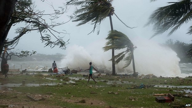 Cyclone Pam batters Port Vila, Vanuatu. 14 March 2015