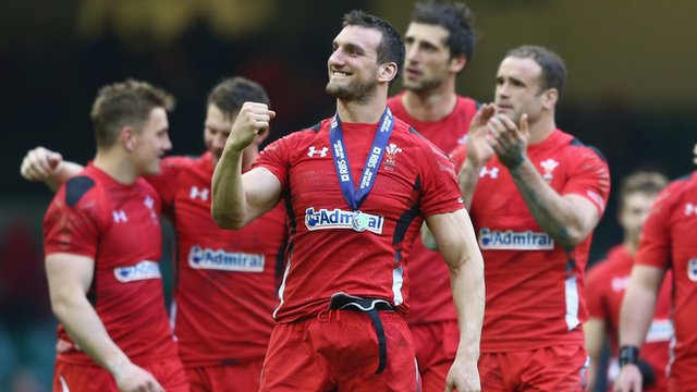 Wales captain and man of the match Sam Warburton celebrates after his side's Six Nations win over Ireland