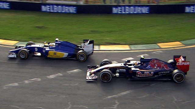 Sauber's Marcus Ericsson overtakes Toro Rosso's Carlos Sainz