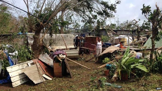 A damaged home in Seaside, near the Vanuatu capital of Port Vila, on Saturday (image handout from Australian Red Cross)