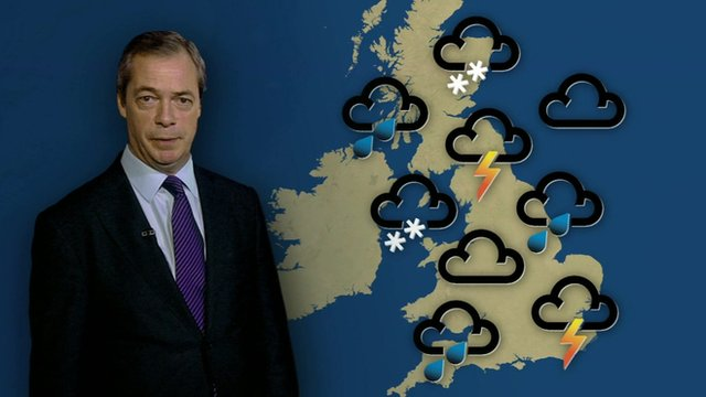 Nigel Farage and weather map
