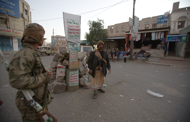 Houthi checkpoint in Radaa