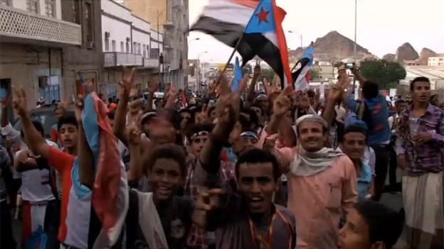 Anti-Houthi demonstrators in Aden