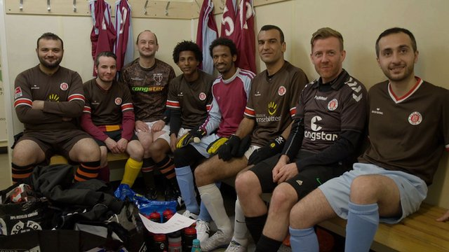 Yorkshire St Pauli team in the dressing room