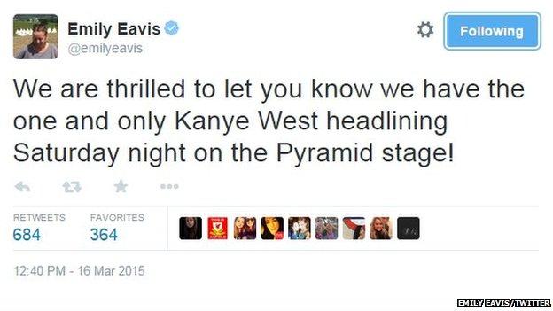 A tweet from Emily Eavis revealing the news