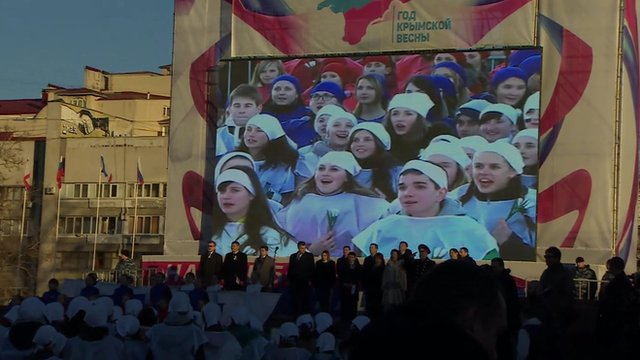 Preparations in Simferopol to mark one year since Russia's annexation of Crimea