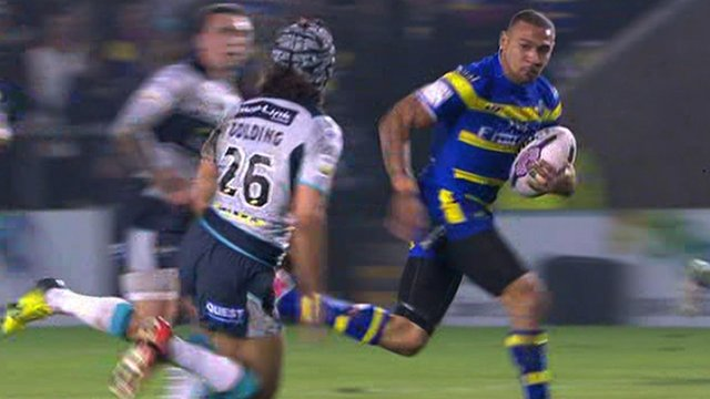 Kevin Penny runs in to score for Warrington