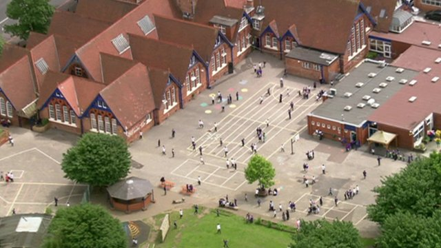 Aerial view of a school