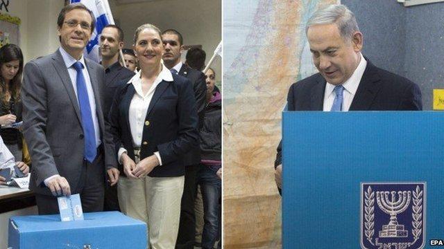 Yitzhak Herzog (l) and Benjamin Netanyahu (r)