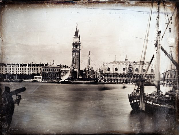 John Ruskin and Le Cavalier Iller. Venice. The Ducal Palace, the Zecca and the Campanile with Moored Ships in Foreground, c.1851. Half-plate daguerreotype.