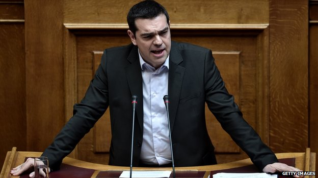 Greek Prime Minister Alexis Tsipras addressing parliament on March 18, 2015