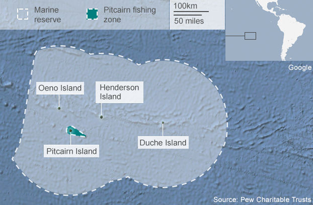Map showing Pitcairn islands and marine reserve